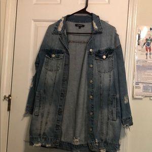 Knee length jean jacket